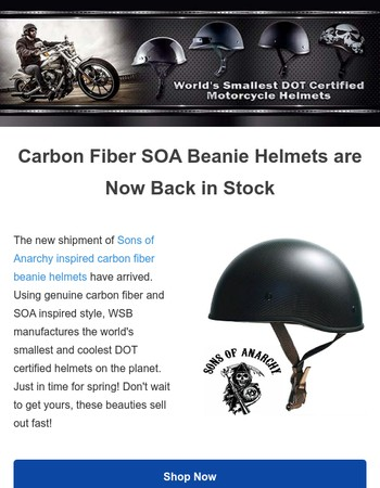 A New Shipment of Sons of Anarchy Beanie Helmets Has Arrived