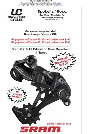 Universal Cycles - Spoke'n'Word - Save on Sram GX 1x11 X-Horizon Rear Derailleur