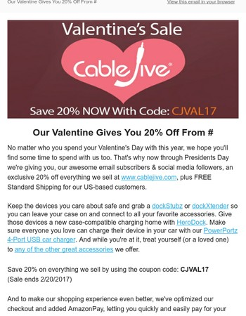 Be Our Valentine and Get 20% Off From CableJive