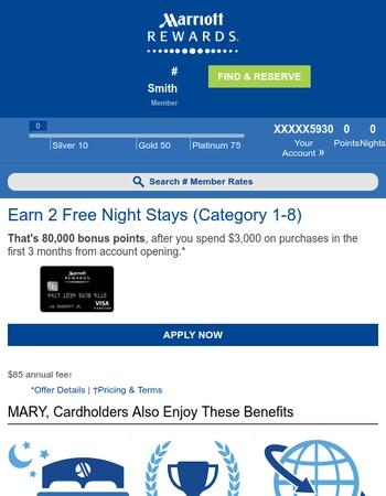 Mary, Earn 2 Free Night Stays