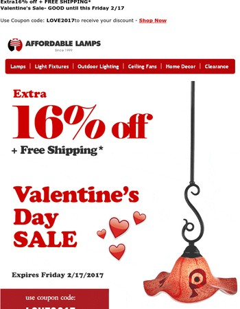 Here's 16% off for Valentine's Day. Go on, take it. Nobody's watching…