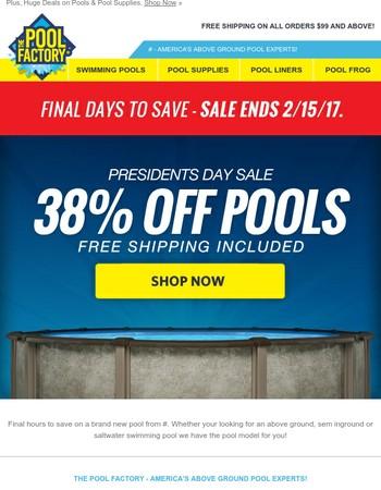 ★POOL SALE★ 38% off all swimming pools!