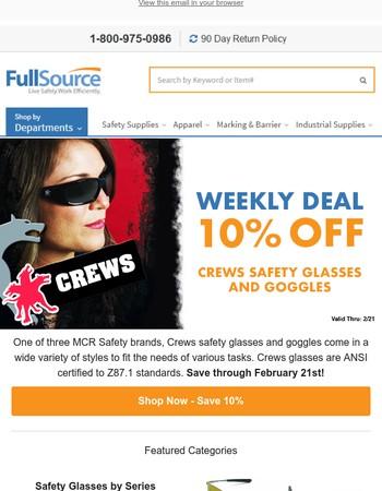 Save on Crews safety glasses
