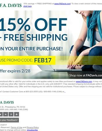 15% off at FADavis.com + Free Shipping