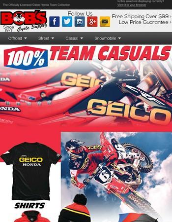 New 100% Geico Honda Team Casuals-With Correct Hyper Link
