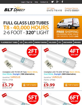 Glass LED Tubes - BLT Direct