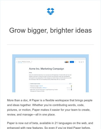 Dropbox Paper makes it easy for teams to grow ideas together
