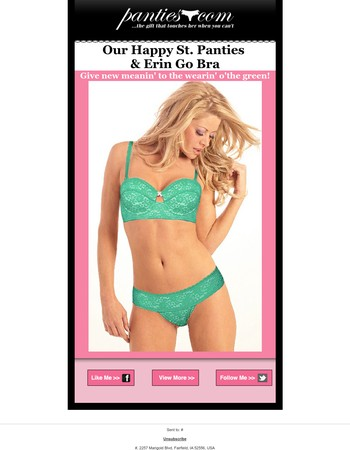 St. Panties & Erin Go Bra - Free Gift + Free Ship!