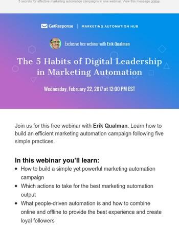 [Webinar with Erik Qualman] How to achieve digital leadership in marketing automation.