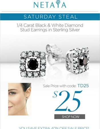 Saturday Steal! $25 - 1/4 Carat Diamond Frame Stud Earrings - Extra 40% Off Sale Price!