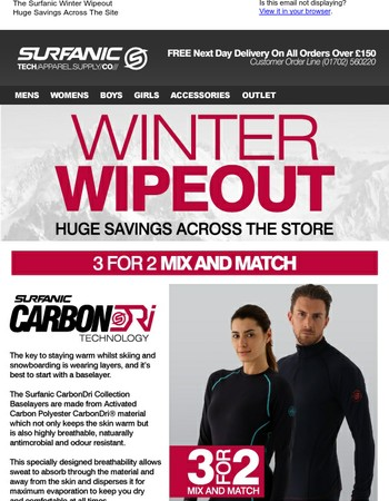 3 for 2 Surfanic CarbonDri Baselayers - Buy 1 Get 1 Free Surfanic Microfleece