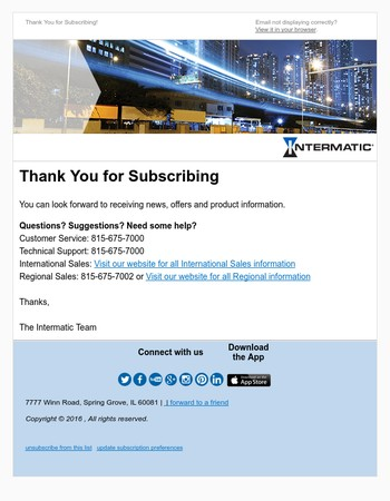 Thank You for Subscribing to Intermatic