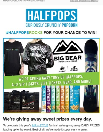 #HALFPOPSROCKS AIR + STYLE WITH DAILY GIVEAWAYS