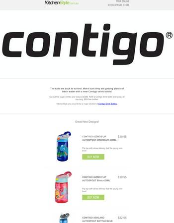 Back to School with Contigo drink bottles.