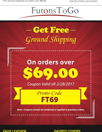 Futonstogo offers Free Ground Shipping on orders above $69