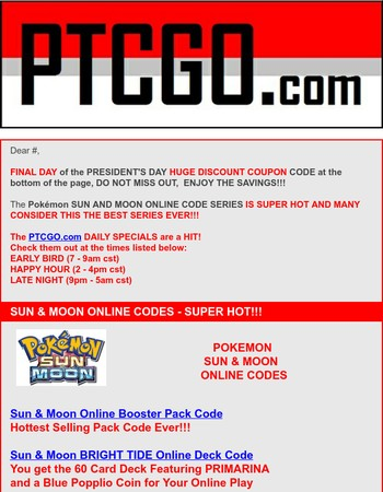 FINAL DAY PTCGO PRESIDENT'S DAY DISCOUNT | Pokemon Codes