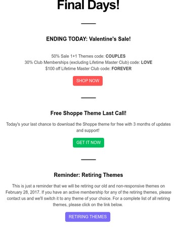 Valentine's Sale + Free Shoppe Theme Last Call + Retiring Themes