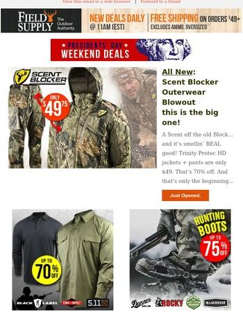 A home run….Scent Blocker Trinity jackets + pants 49 bucks! Plus lots more.