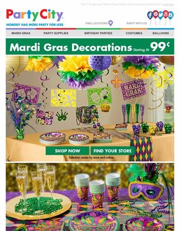 Shop Mardi Gras Décor & Tableware + Save $20!