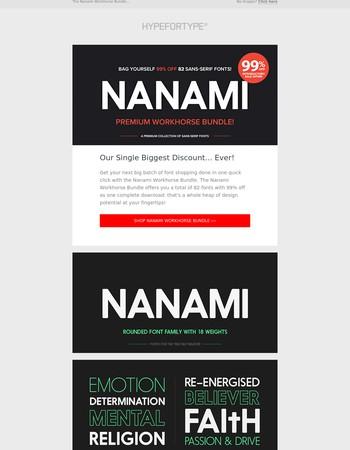 Nanami Workhorse Bundle, 99% off 82 fonts!