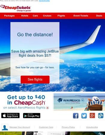 Wait no more! JetBlue flight fare deals as low as $57 RT