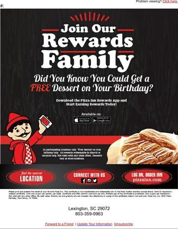 Birthdays are Extra Special with Pizza Inn Rewards