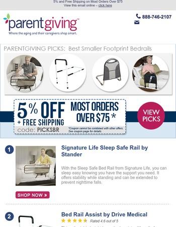 Parentgiving Picks - Best Smaller Footprint Bedrails (and Bedrail Assists)