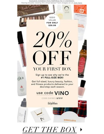 Exclusive offer! Take 20% off at FabFitFun!
