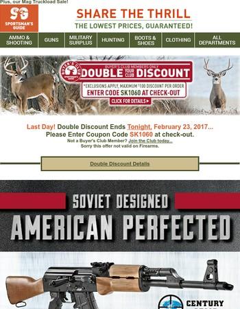 Final Hours for Double Discount + RAS-47 AK Semi-Auto...