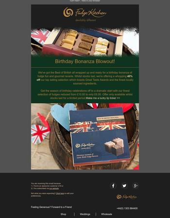 Enjoy a Birthday Bonanza with 40% Off The Best of British