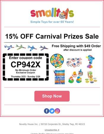 15% OFF - Carnival Prizes Sale