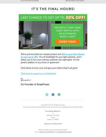 [Only 48 hours left]  Last chance to get up to 30% off the SnapPower SwitchLight