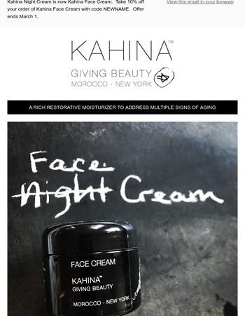 Kahina Night Cream Gets a Face Lift