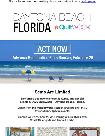 Last Chance for Advance Registration at Daytona Beach