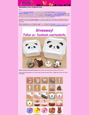 New Kawaii Squishies & Panda Fun Giveaway from modes4U