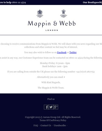 Thank you for signing up to receive emails from Mappin and Webb