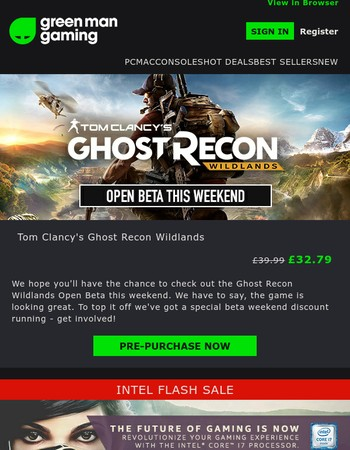 Intel Flash Deal | Ghost Recon Open Beta | Updated VIP Deals