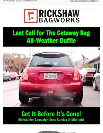 Last Call for The Getaway Bag