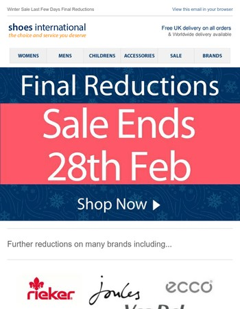 Final Reductions - Last Few Days