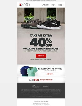 Take EXTRA 40% Off Training & Walking Shoes