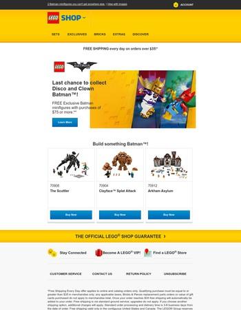 Ends Soon—FREE Exclusive Disco and Clown Batman™ Minfigures!