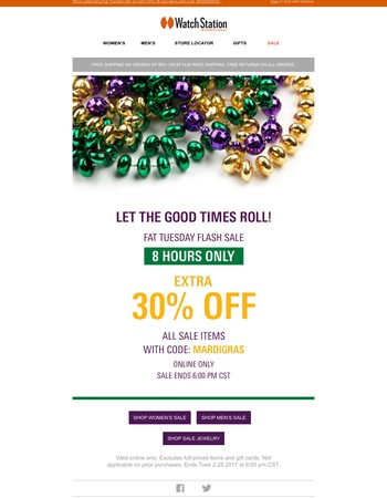8-Hour Flash Sale! Happy Mardi Gras!
