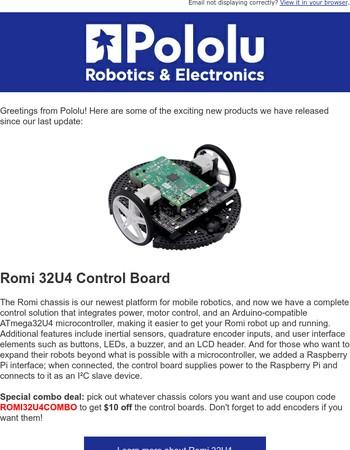 Pololu February update: say hello to Romi 32U4!
