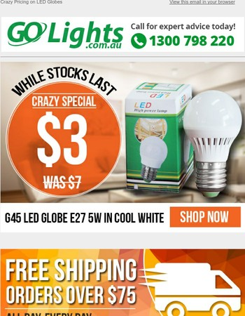 $3 LED Globe Fire Sale