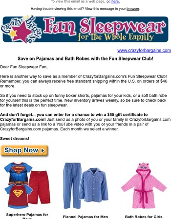 Save 15% on Fun Sleepwear for the Whole Family