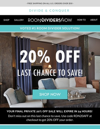 Final 20% Discount on Room Dividers