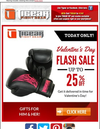 Don't know what to get for Valentine's Day?  Flash Sale!