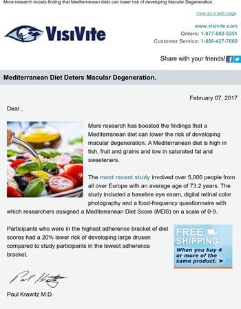 , Mediterranean diet deters Macular Degeneration