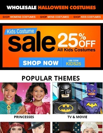 25% Off All Kids Costumes - Now thru Sunday!