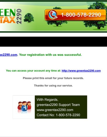 Your GreenTax2290 Account Information